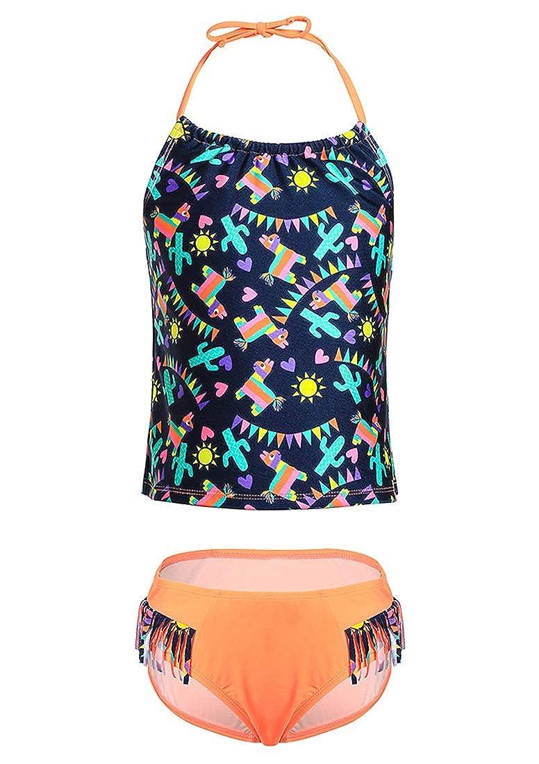DUSISHIDAN Little Toddle Big Girls Youth Printed Two Piece Swimsuit Cute Tankini Set with Bottom
