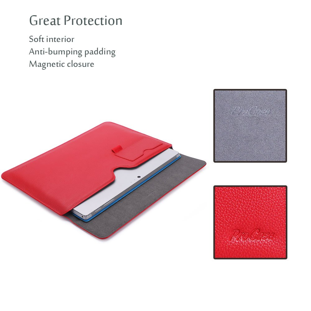12 Inch Sleeve Bag Laptop Tablet Protective Cover for Microsoft Surface Pro 2018 2017 // Pro 6 4 3 Compatible with Type Cover Keyboard Red ProCase Surface Pro Case//Surface Pro 6 4 3 Sleeve Case