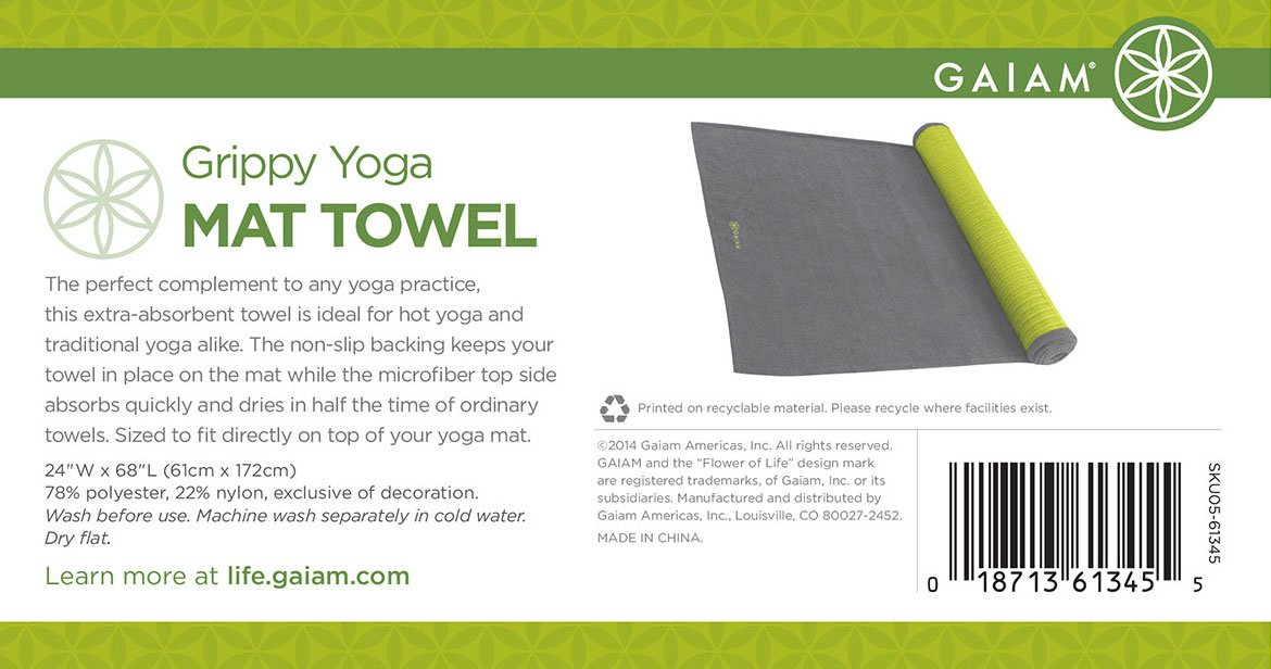 Gaiam - Grippy Toallas de Esterilla de Yoga: Amazon.es ...