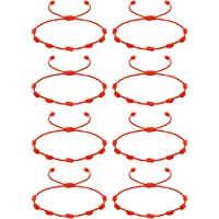CASSIECA 8Pcs Pulsera Roja 7 Nudos Amuleto del Kabbalah Pulsera Cordón Pulsera Hilo Rojo de la Suerte Unisex Pulsera…