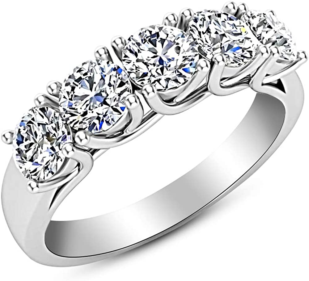 3/4 Carat (ctw) 14K White Gold Round Diamond Ladies 5 Five Stone Wedding Anniversary Stackable Ring Band Luxury Collection (D-E Color VS1-VS2 Clarity)