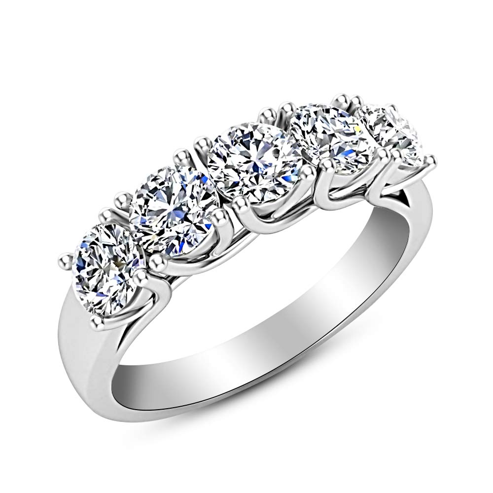 2 Carat (ctw) 14K White Gold Round Diamond Ladies 5 Five Stone Wedding Anniversary Stackable Ring Band Value Collection by Houston Diamond District