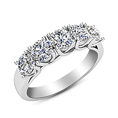 e444f5a1aa89 Amazon.com  2 Carat (ctw) 14K White Gold Round Diamond Ladies 5 Five Stone  Wedding Anniversary Stackable Ring Band Ultra Premium Collection  Jewelry