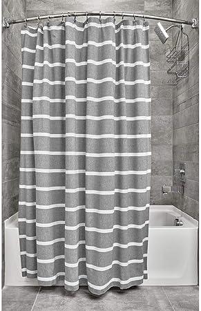 iDesign Ducha a Rayas, Preciosa Cortina de baño x 183,0 cm de algodón, Gris Oscuro/Blanco: Amazon.es: Hogar