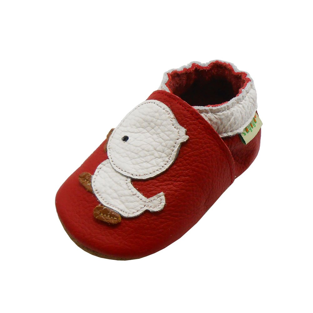 Sayoyo Baby Duck Soft Sole Leather Infant Toddler Prewalker Shoes (24-36 months, Red) 10825