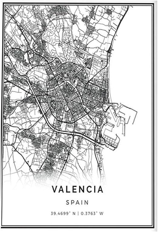 HNZKly Art Valencia Mapa Poster Impresiones Pared Arte Cuadro EspañA Regalo Ciudad Calle Viajes Mapa Arte Pinturas NóRdico Moderno Cuadro Hogar Pared Decoracion 40x60cm / Sin Marco: Amazon.es: Hogar