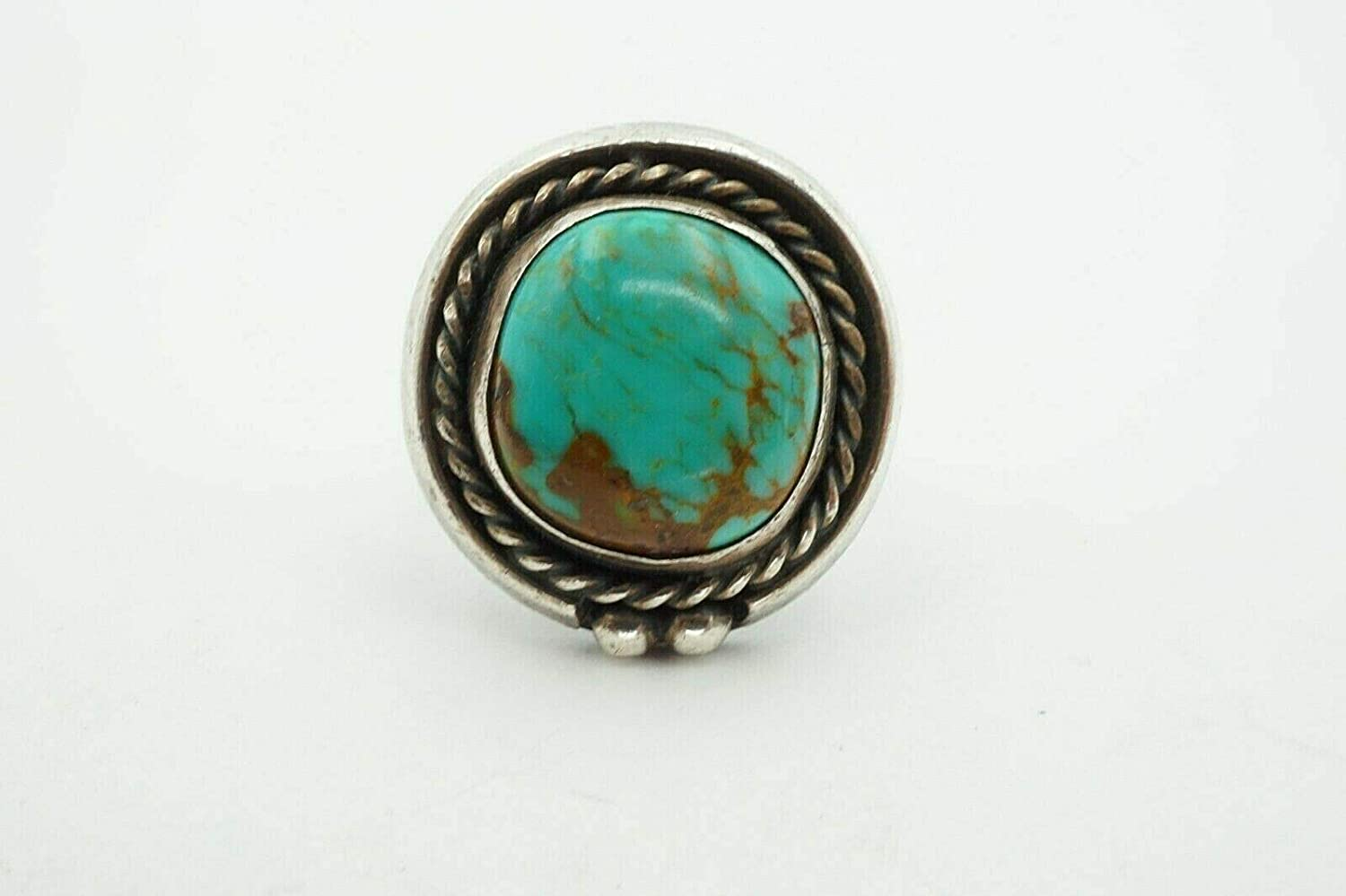 Vintage Sterling Silver Turquoise Statement Ring Size 8