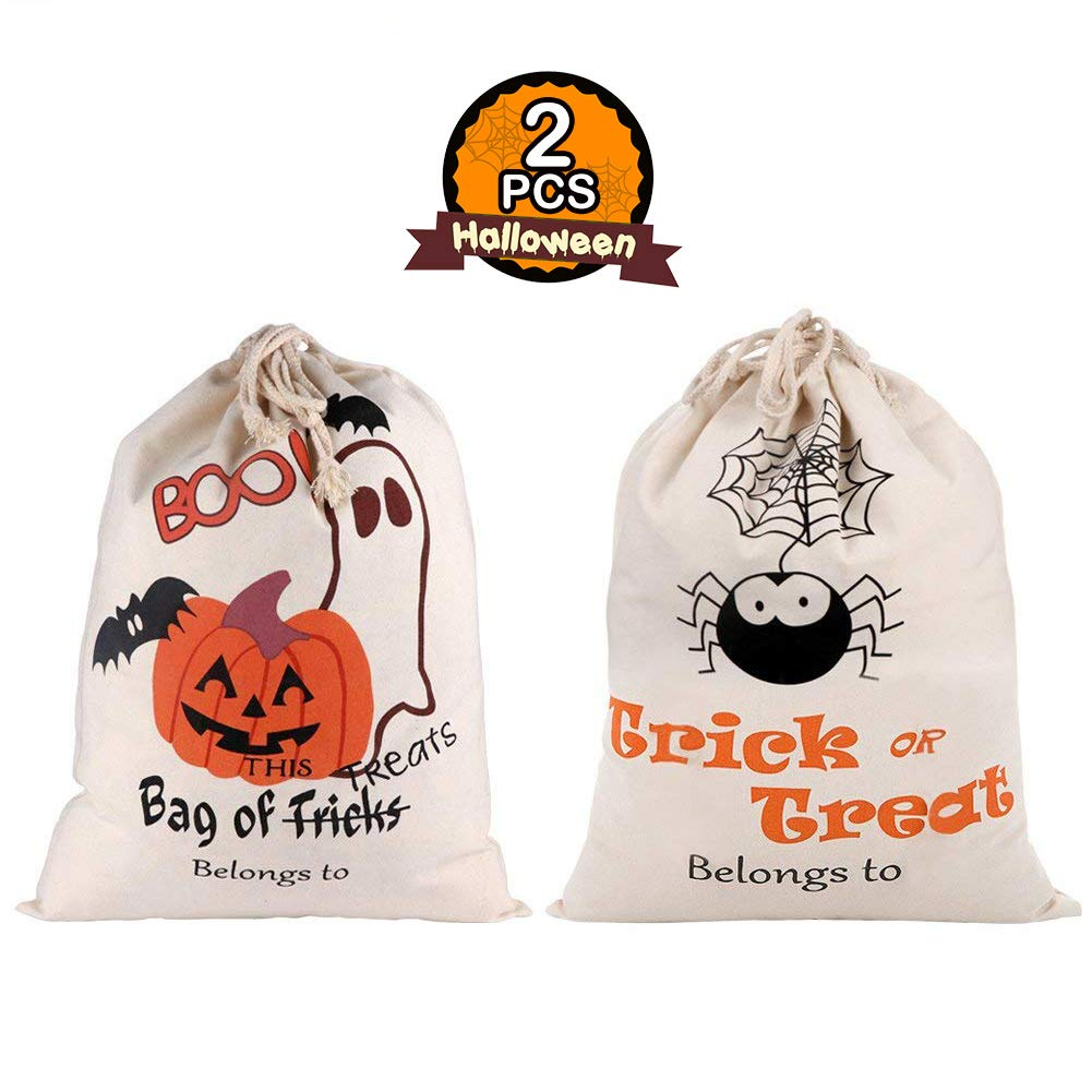 PartyTalk 2pcs Halloween Trick or Treat Bags for Kids, Reusable Canvas Drawstring Tote Bag 17 x 14 Inch Spider Pumpkin Gift Sack Halloween Party Decorations 1W-FBDNG