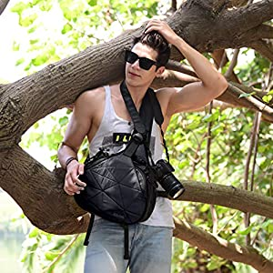 CADeN Large Camera Sling Backpack Bag with Rain Cover for DSLR and Mirrorless Cameras (Canon Nikon Sony Pentax)
