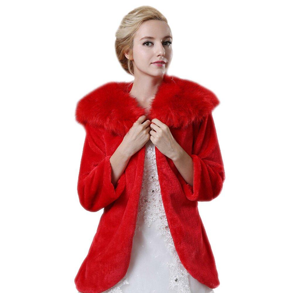 ICEGREY Damen Braut Stola Kunstpelz Schals Bolero Jacke für Hochzeit Braut Partei Rot ICG-MAI-MPJ140904