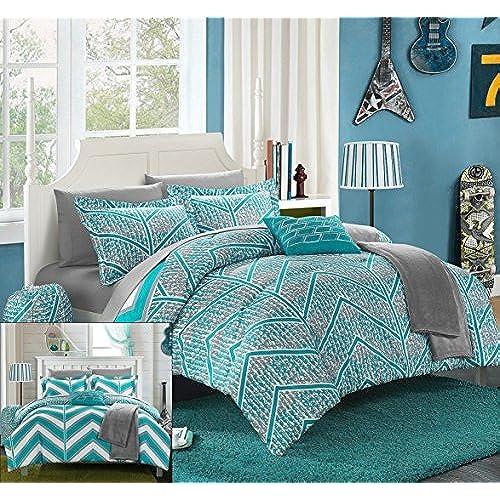 Chic Home 10 Piece Laredo Chevron And Geometric Printed Reversible Comforter  Sheet Set, Full, Aqua