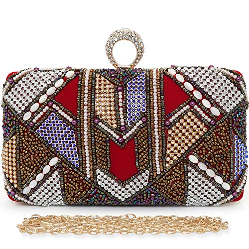 Rhinestone Red Wedding Lint Purses Evening Bag Bags Clutches Beaded Colorful Womens Handbag qZPwpXBZx