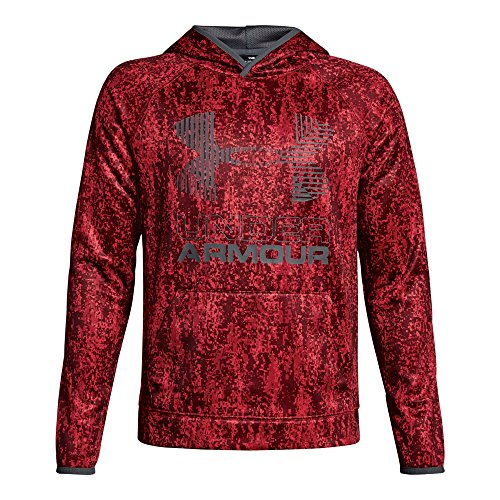 Under Armour Boys' Armour Fleece Printed Big Logo Hoodie, Red/Graphite, Youth Small