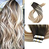 Moresoo 20 Inch Remy Tape in Hair Extensions Human Hair Balayage Color Dark Brown #2 Fading to Blonde #27 Mixed #613 Unprocessd Human Hair Extensions Seamless Tape in Hair 40pcs/100g Full Head Set For Sale