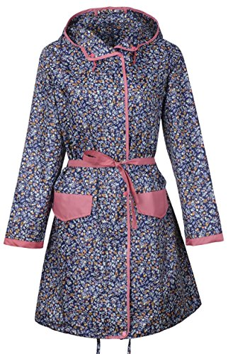 Raincoat Khaki - QZUnique Women's Packable Waterproof Rain Jacket Outdoor Poncho Raincoat with Hood Blue Flower