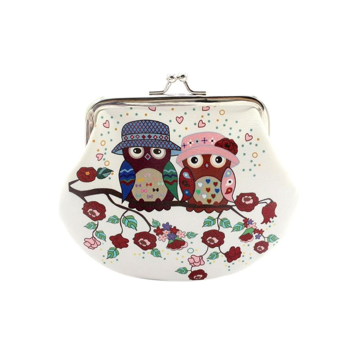 Wallet,toraway Vintage Women Small Coin Pockets Hasp Owl Purse Clutch Wallet Bags (White #3)