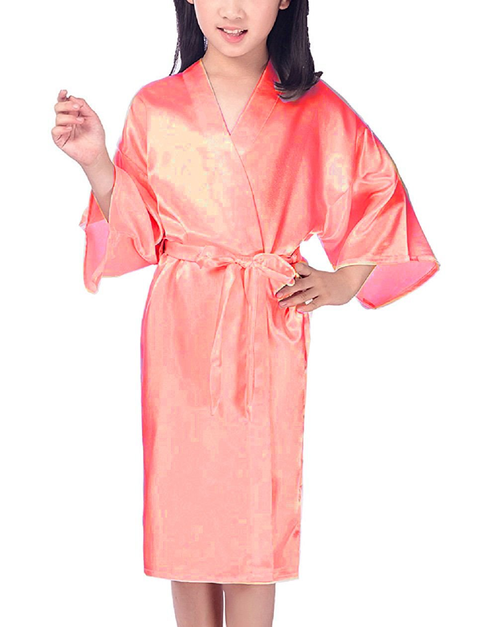 Mobarta Girls Kids' Satin Kimono Robe Fashion Bathrobe Silk Nightgown Getting Ready Robe for Wedding Spa Party Birthday Gift (Watermelon Red, 12) by Mobarta