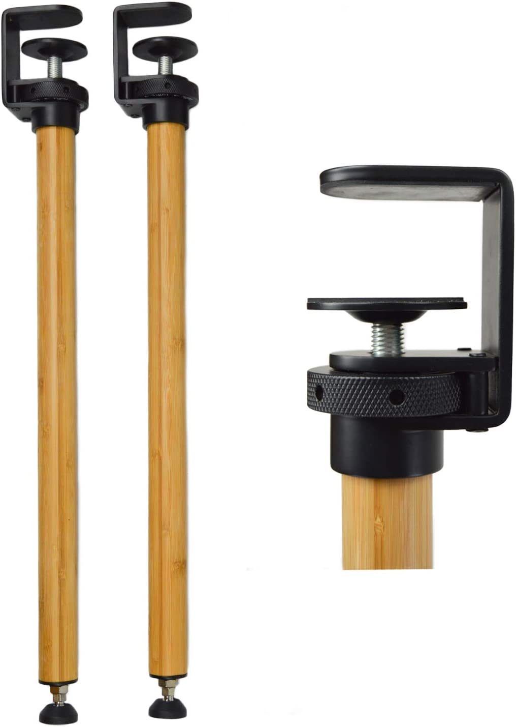 Grotta Table Legs with Metal Clamp & Wood Bamboo Leg   28-30 inch Adjustable   for Desk Bench Dining & End Table   Mid Century Modern Industrial Furniture   Hairpin & Pipe Legs Alternative  Set of 2