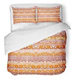 Emvency Bedsure Duvet Cover Set Closure Printed Brown Plaid Knitting Animal Fur Zig Zag Ethnic Orange Abstract Africa African Decorative Breathable Bedding With 2 Pillow Shams Full/Queen Size