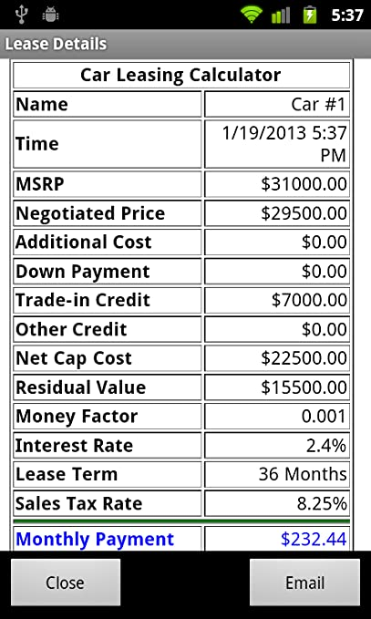 amazon com car leasing calculator free appstore for android