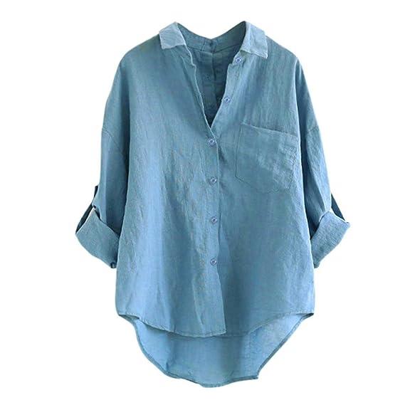 VEMOW Sommer Herbst Elegant Langarm Leinen Freizeit Oberteil Damen Frauen Casual Daily Party Strand Lose Umlegekragen Tops T Shirt Knopf Tunika Bluse