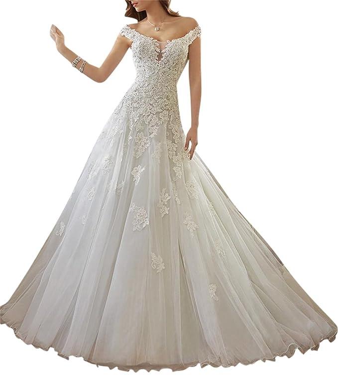 XUYUDITA Mujer de encaje de encaje vestido de novia vestido de novia de tren de la Corte nupcial: Amazon.es: Ropa y accesorios