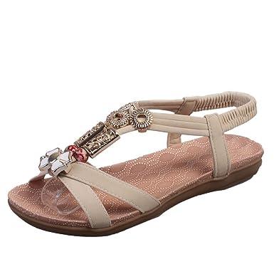 Sandalias de Verano de Bohemia de Las Mujeres,❤ Absolute Sandalias de Moda de Las Mujeres Boho Sandalias Planas de Cuero Zapatos de Las señoras: ...