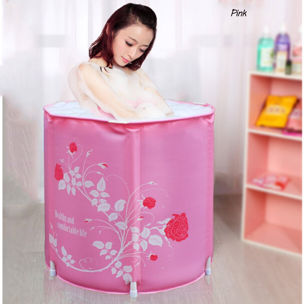 Bathtubs Freestanding Adult Plastic Bath Barrel Free Inflatable Thickened Plastic Folding Bath Barrel (Color : Pink)