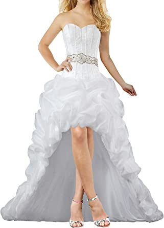 Unbranded Women S Strapless Organza High Low Wedding Dresses For Bride At Amazon Women S Clothing Store
