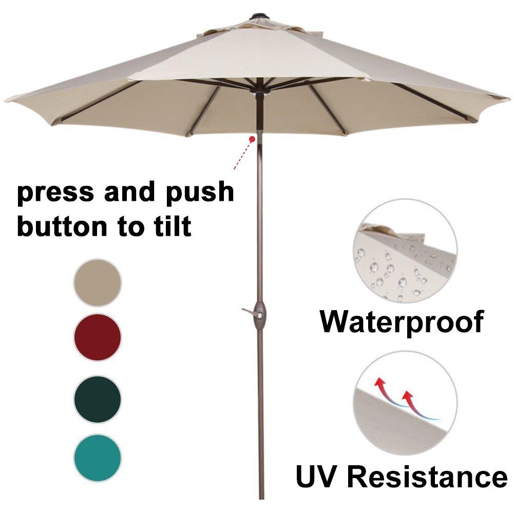 Abba Patio Outdoor Patio Umbrella 9 Feet Patio Market Table Umbrella with Push Button Tilt and Crank, Beige by Abba Patio (Image #2)