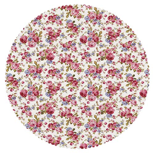 iPrint Cool Round Tablecloth [ House Decor,Rose Flower Pattern Passion Shabby Chic Style Love Wedding Celebrations Themed Decorative ] Fabric Home Tablecloth Design