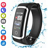 Fitness Tracker HR, Activity Smart Bracelet Wristband with Pedometer Heart Rate Sleep Monitor Calories Stopwatch IP67 Waterproof Call SMS SNS Alert for Men Women Kids Compatible with Android IPhone