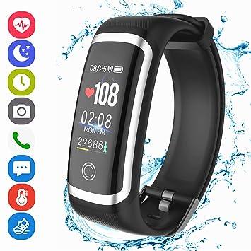 Montre Connectée, Bracelet Fitness Tracker dActivité avec Podomètre Moniteur de Fréquence Cardiaque Écran