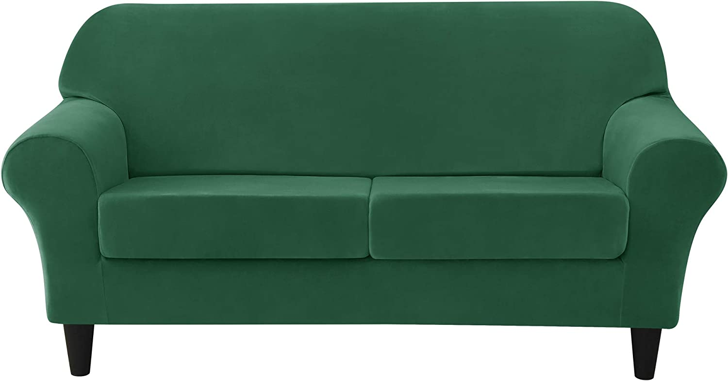 MILARAN Velvet Sofa Slipcover Soft Stretch Couch Cover 3-Piece High Spandex Furniture Protector for Living Room(Forest Green,Medium)