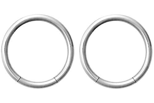 Par de 2 anillos: 16 G 3/8 pulgadas aro de acero quirúrgico anillo circular pesas: Amazon.es: Joyería