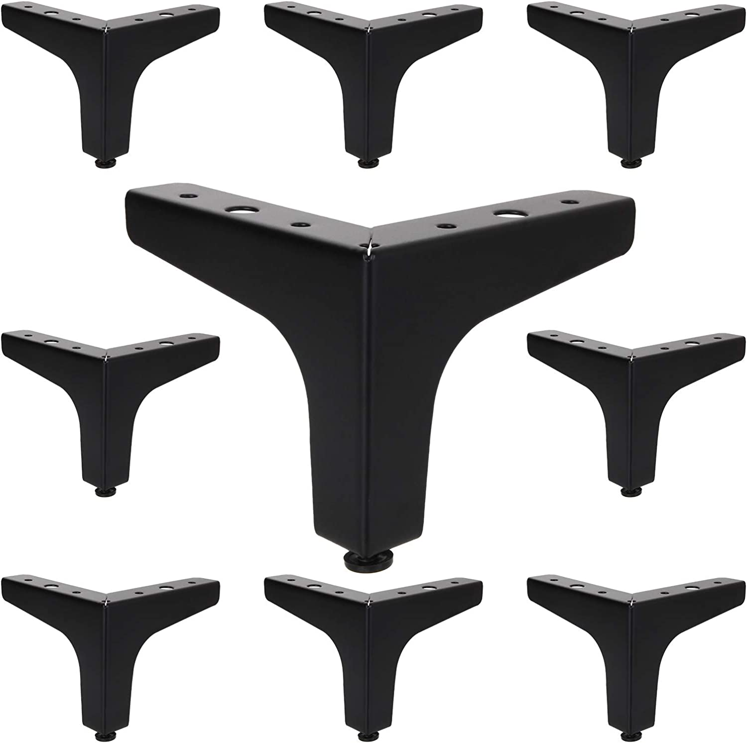 16Pack Metal Furniture Sofa Legs, 4inch Modern Style DIY Furniture Feet Replacement, Black Triangle Table Cabinet Cupboard Feet Heavy Duty for Dresser Coffee Table Desk Wardrobes Couch Bookcase