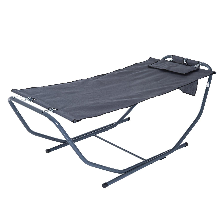 Outsunny Sonnenliege Hängematte Relaxliege Gartenliege klappbar Grau L227xB94xH69cm