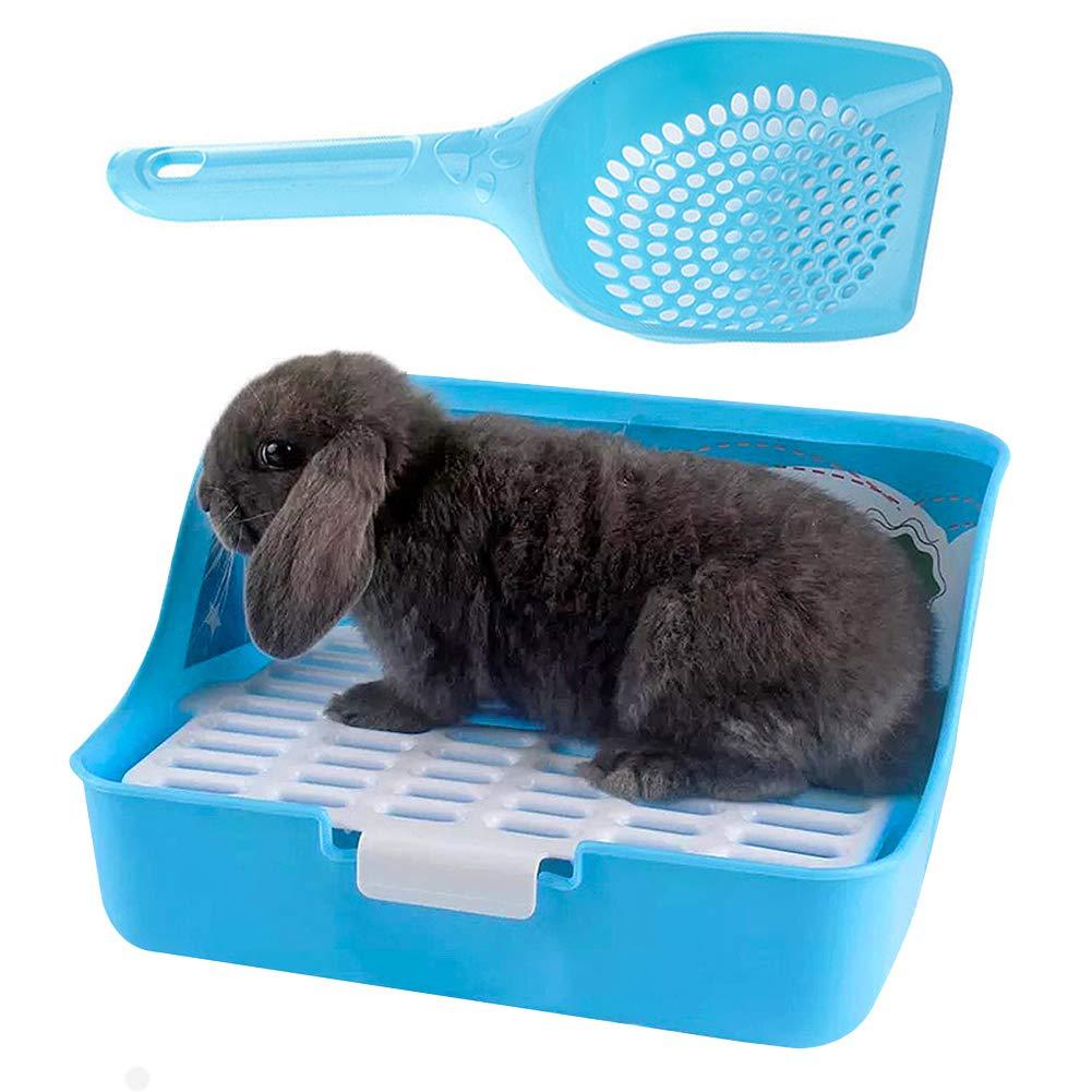 kathson Bunny Litter Box, Rat Litter Tray Ferret Potty Training Corner Litter Pan Guinea Pig Cage Cleaner Litter Scooper for Chinchillas Rabbits