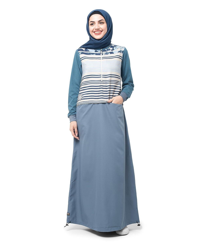 Silk Route Grey Floral Stripe Zip Down Polyester Sporty Maxi Dress Jilbab