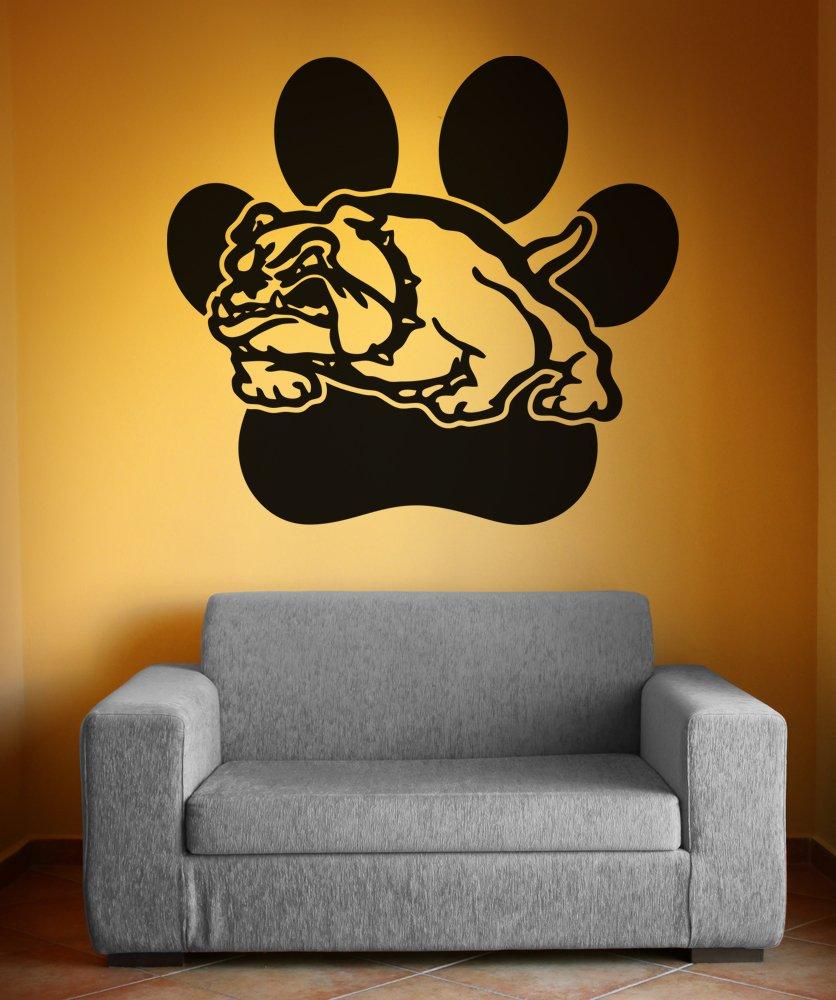 Amazon.com: Stickerbrand School Mascot Bulldog w/Paw Print Wall ...