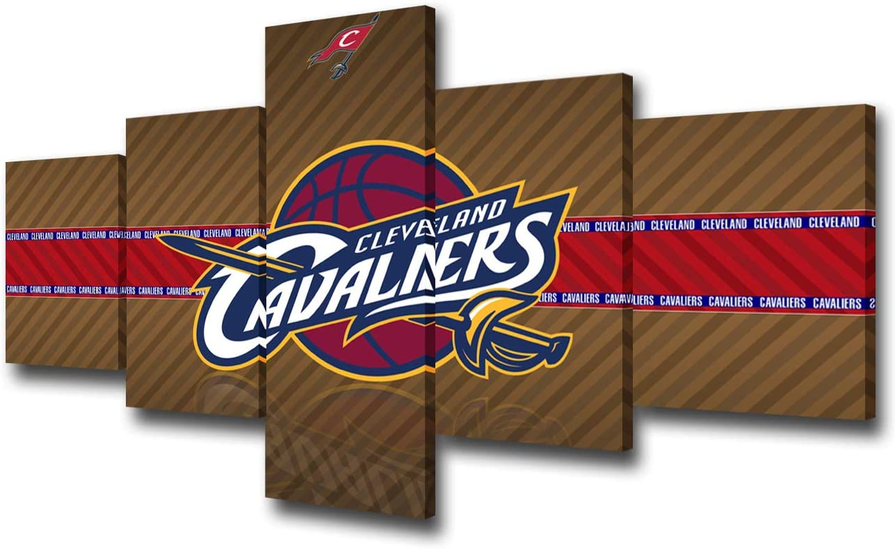 Cleveland Cavaliers Logo Pictures Native American Professional Basketball Team Painting 5 Pcs Canvas Wall Art Modern Artwork Home Decor for Living Room Framed Gallery-wrapped Ready to Hang 50''Wx24''H
