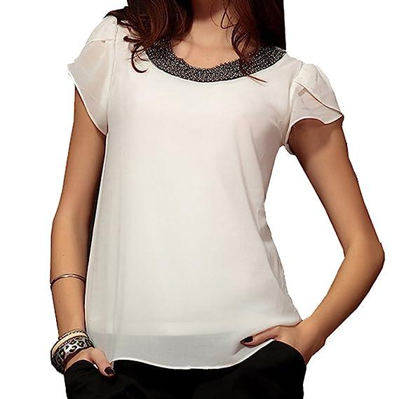 TOOGOO Blusa vintage informal de chiffon de mujer de moda camisa pulover de O-cuello