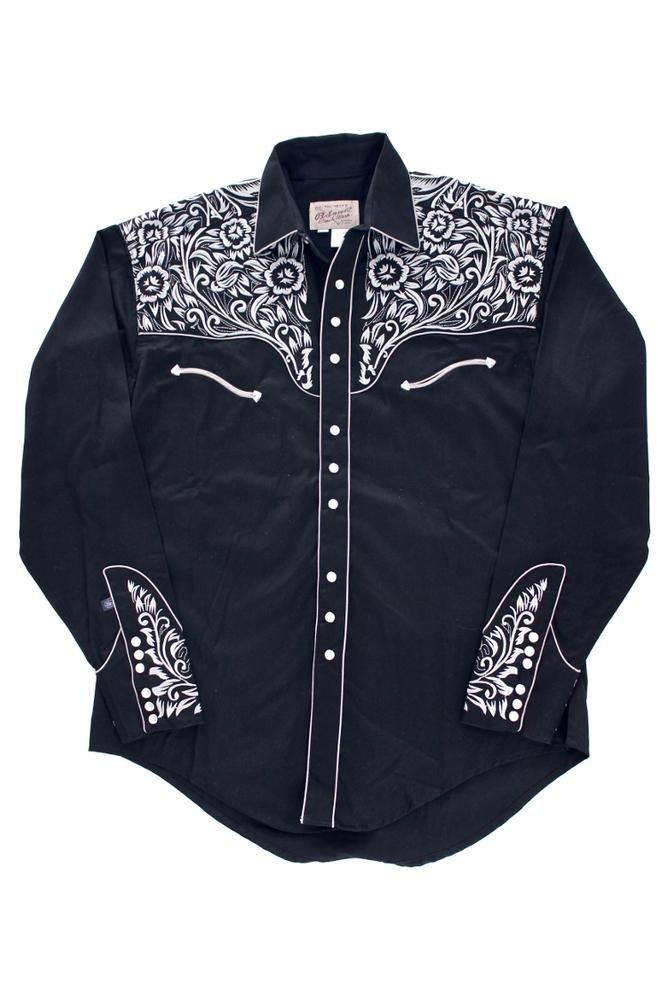 Rockmount Vintage Tooling Embroidery Western Shirt Black 6859-BLKSILVER-Black-S