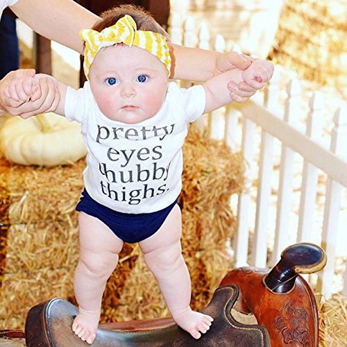 Newborn Baby Boy Girl Summer Short Sleeve Letters Print Romper Jumpsuit (9-12 Months)