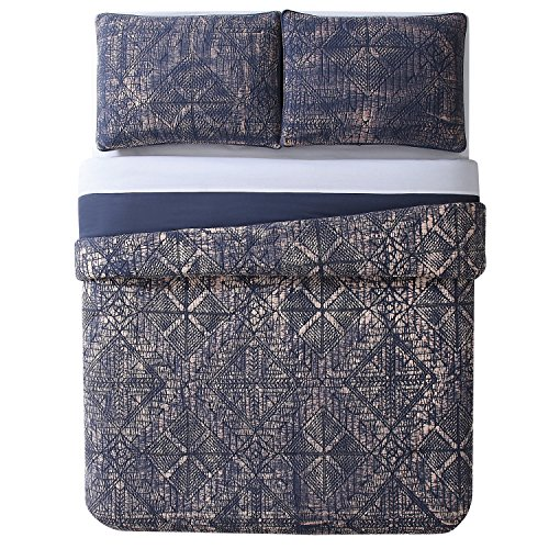 Brooklyn Loom 4 Piece Sand Washed Cotton Duvet Set, Full/Queen, Blue