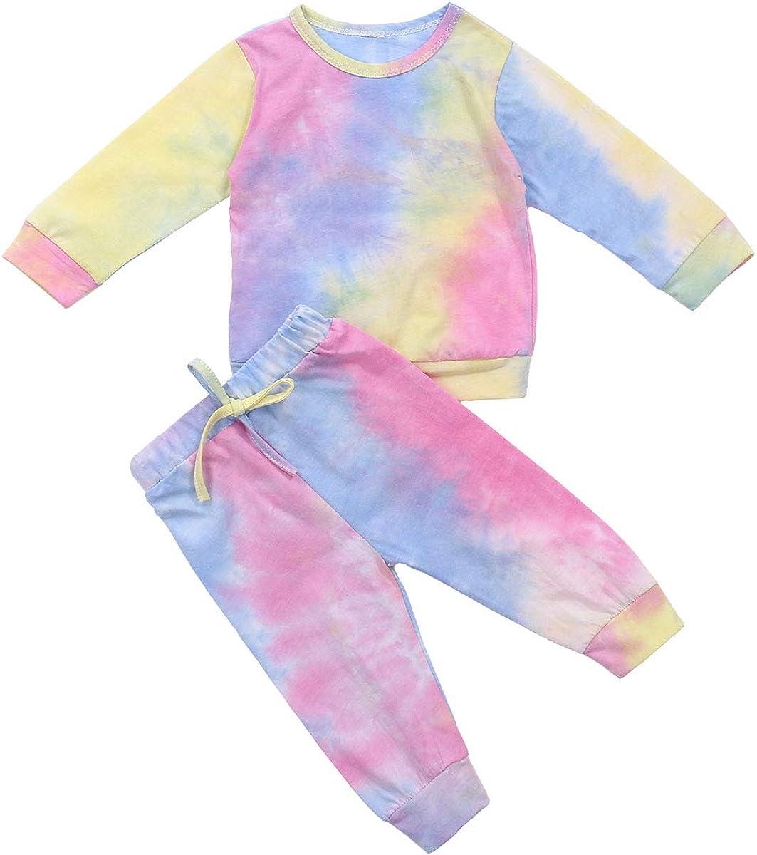 Meipitgy 2Pcs Toddler Baby Girls Boys Long Sleeve Tie Dye Pajamas Set Sleepwear Nightwear Lounge Clothes