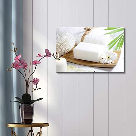 Wall26 Relaxing Spa Counter with White Soap Burning Candles and Blooming Flower – Canvas Art Wall Decor – 32 x 48