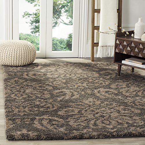Safavieh Florida Shag Collection SG460-7913 Smoke and Beige Area Rug (8' x 10') (Rectangle Dark Beige Rug)