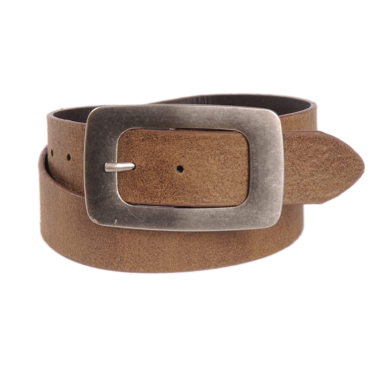 Sunny Belt Womens Oversized Metal Buckle Soft Textured Brown Belt
