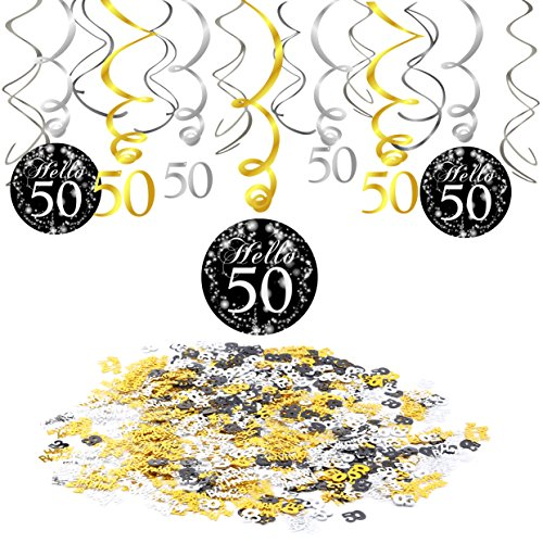 Konsait 50th Birthday Decoration, 50th Birthday Hanging Swirl (15 Counts), Happy Birthday & 50 Table Confetti (1.05oz) Black Hanging Swirl Ceiling Decor Table Decor for Birthday Party Decorations - Hello 1 Light Pendant